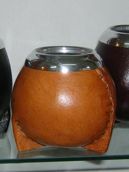 Kalebass med läder - Naturell