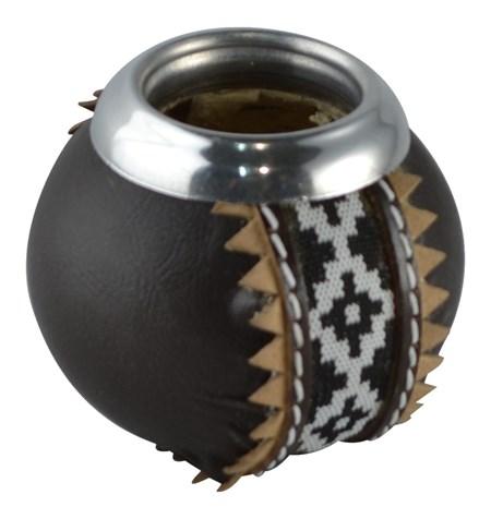 Kalebass med läder och band - Svart