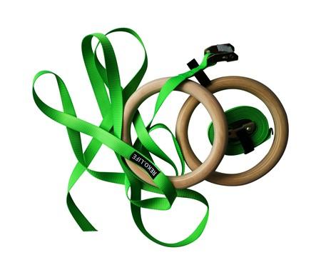 Romerska Ringar i Trä - Gröna remmar