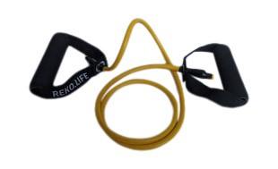 Träningsband med handtag - 5*8*1200 mm - Gul  - 5 kg